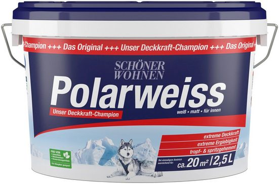 SCHÖNER WOHNEN FARBE Innenfarbe »Polarweiss, 2,5 Liter«, scheuerbeständig