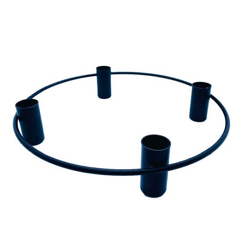 Parts4Living Adventskranz »Metall Ring mit 4 Stabkerzenhaltern Adventsgesteck zum Dekorieren Weihnachtsdeko rund schwarz 25x5 cm«, im skandinavischen Stil