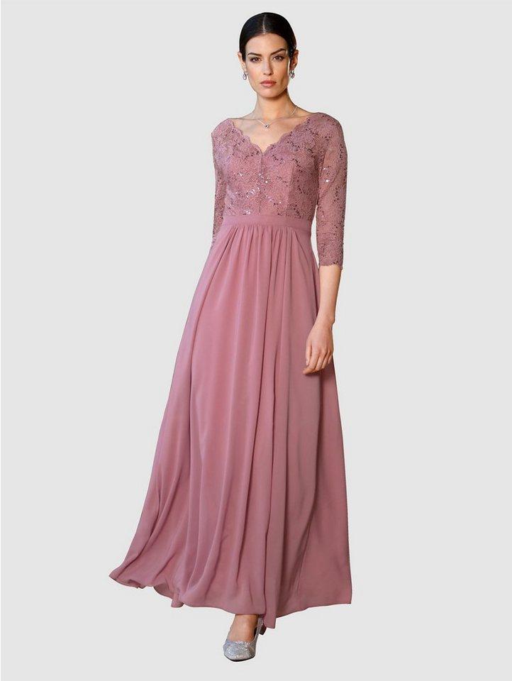 Festtagsmode - Paola Abendkleid mit Spitzeneinsatz und Pailletten › rosa  - Onlineshop OTTO