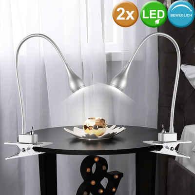 etc-shop Klemmleuchte, 2er Set LED Tisch Lampen Flexo Arm Klemm Strahler Wohn Zimmer Beleuchtung Lese Leuchten silber