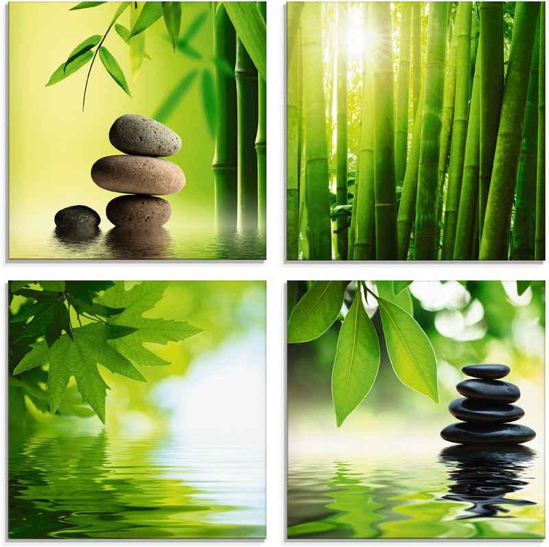 Artland Glasbild »Spa Stillleben Bambus Steinpyramide«, Zen (4 Stück)