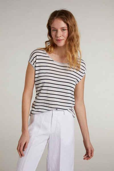 Oui T-Shirt »Kurzarmpullover mit Streifen«