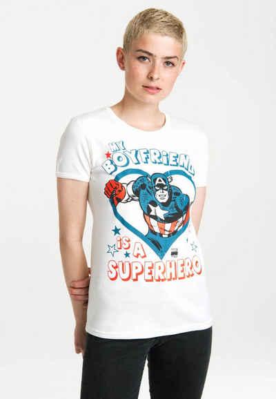 LOGOSHIRT T-Shirt »Marvel - My Boyfriend Is A Superhero« mit lizenzierten Originaldesign