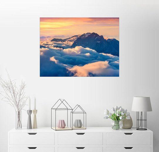 Posterlounge Wandbild, Sonnenaufgang über dem Tal Val di Fassa mit Sellajoch, Dolomiten