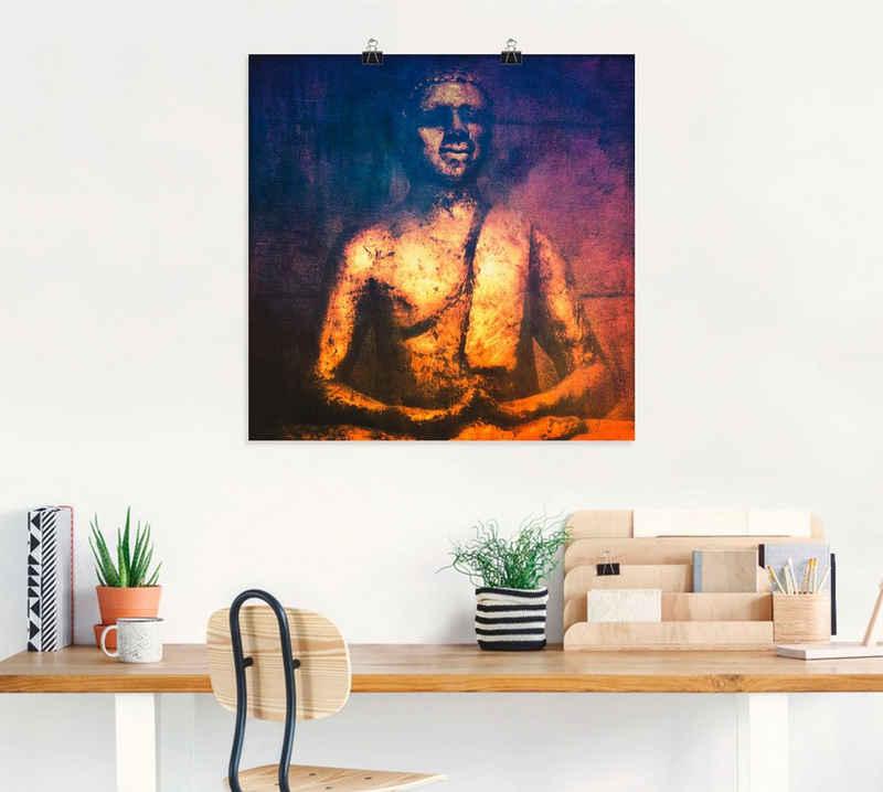 Artland Wandbild »Der Goldene Buddha II«, Religion (1 Stück), in vielen Größen & Produktarten -Leinwandbild, Poster, Wandaufkleber / Wandtattoo auch für Badezimmer geeignet