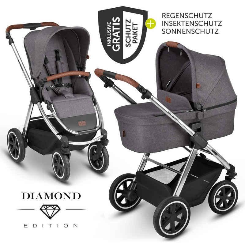 ABC Design Kombi-Kinderwagen »Samba - Diamond Edition - Asphalt«, (7-tlg), 2in1 Kinderwagen-Set inkl. Babywanne, Sportsitz & XXL Zubehörpaket