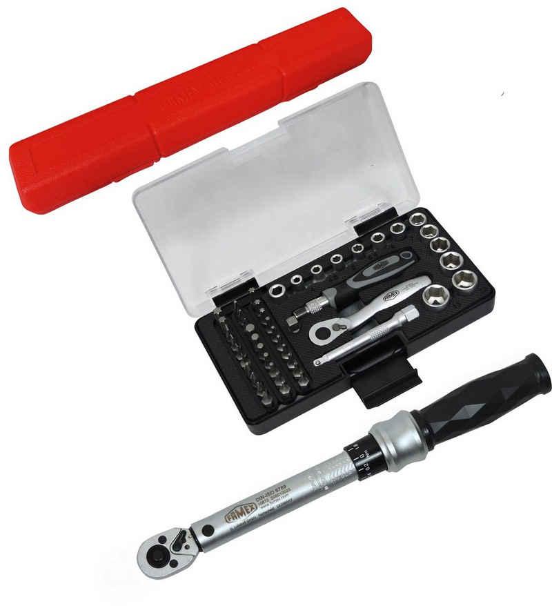 FAMEX Drehmomentschlüssel »10875 Drehmomentschlüssel Set 1/4 Zoll (6,3mm) 6-30 Nm Reparatur Set für Fahrrad E-Bike Motorrad« (Drehmomentschlüssel, 48 St), mit hochwertigem Steckschlüsselsatz