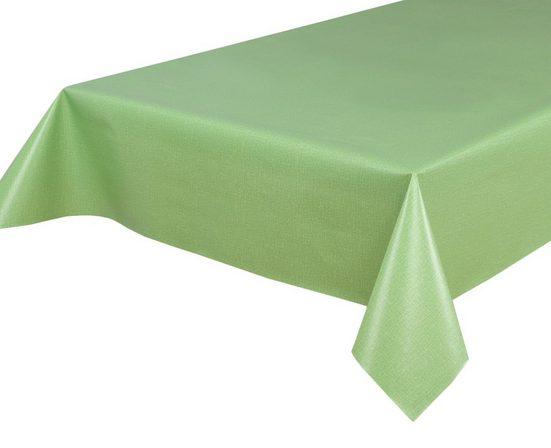 Beautex Tischdecke »Wachstuchtischdecke, Leinen grün, abwischbar Wachstuch Garten Tischdecke ECKIG RUND OVAL, Größe wählbar« (1-tlg)