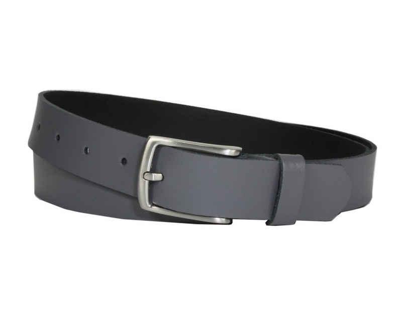 COLOGNEBELT Ledergürtel »C10-SL« 3 cm breiter Ledergürtel in Grau mit feiner Gürtelschnalle