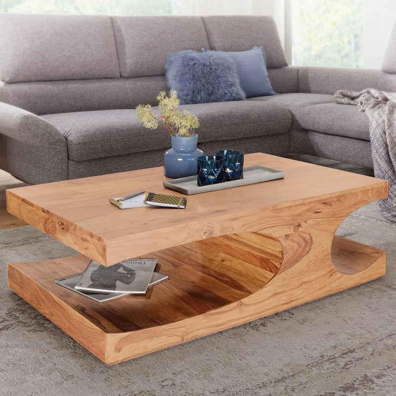 FINEBUY Couchtisch »SuVa2473_1«, Couchtisch Massiv-Holz 120 cm breit Wohnzimmer-Tisch Design braun Landhaus-Stil Beistelltisch