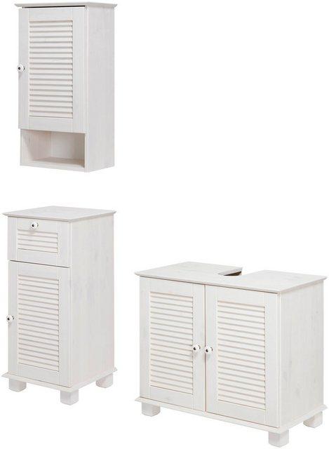 Badezimmer Sets - welltime Badmöbel Set »Sund«, (3 tlg), aus massivem Kiefernholz  - Onlineshop OTTO