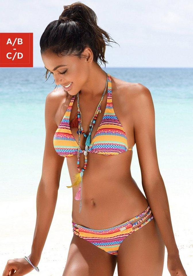 Bademode - Buffalo Triangel Bikini Top »Lux«, mit Ethno Druck › gelb  - Onlineshop OTTO