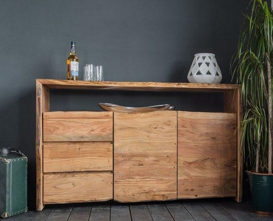 KAWOLA Sideboard »Loft Edge«, Akazie Massiv-Holz Baumkante