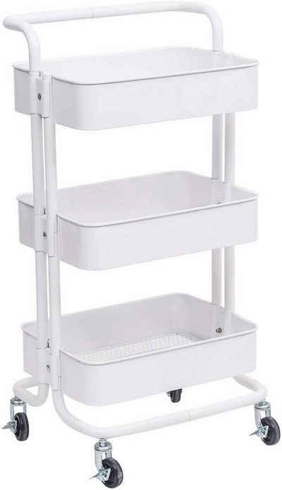 Woltu Küchenwagen, Küchenwagen Rollwagen mit Griff aus Metall weiß
