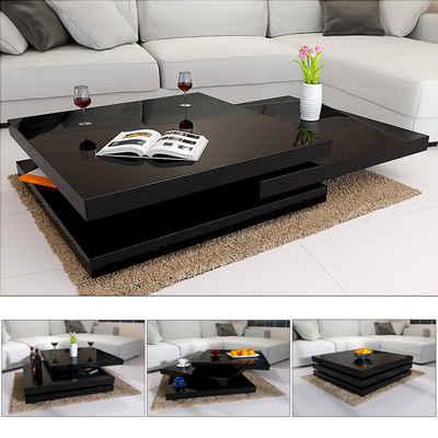 Casaria Couchtisch »New York« (1-St), Hochglanz Schwarz 360° Drehbar Cube Design Modern 60x60cm Wohnzimmertisch Beistelltisch Sofatisch Tisch Wohnzimmer