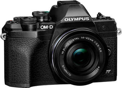 Olympus »E-M10 Mark IV« Systemkamera (M.Zuiko Digital ED 14‑42mm F3,5-5,6 EZ Pancake, 20,3 MP, Bluetooth, WLAN (WiFi), +BLS-50, F-5AC USB-AC Adapter, USB cable, Shoulder Strap)