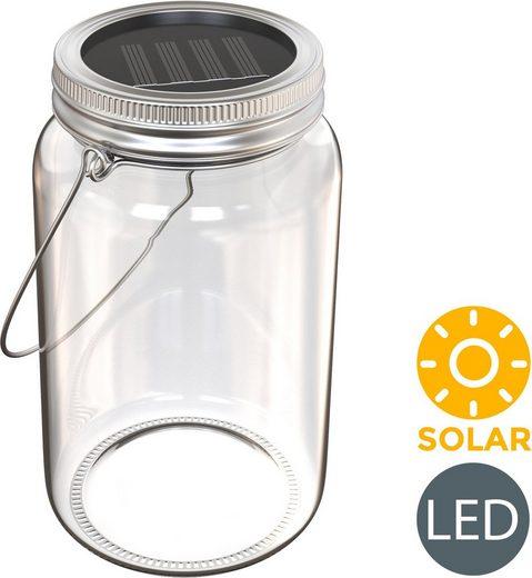 B.K.Licht LED Laterne »Solaris-Mini«, LED Solarlicht, spritzwassergeschützt IP44, DIY Glas zum selberfüllen, Akku, Dämmerungssensor