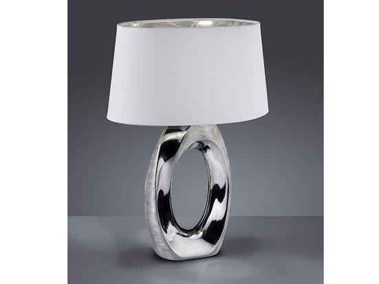 TRIO LED Tischleuchte, große Keramik Tisch-Lampe E27 mit Stoff-Lampen-Schirm oval für Wohnzimmer, Fensterbank, Schlafzimmer, Schreibtisch