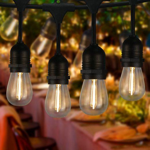 ZMH LED-Lichterkette »Lichterkette Außen Balkon Deko LED Lichterketten Glühbirnen S14 15M 15er Outdoor Glühlampen mit 1 Ersatzbirne IP65 Wasserdichte Gartendeko Innen Aussen Beleuchtung für Party Weihnachten Terrasse«