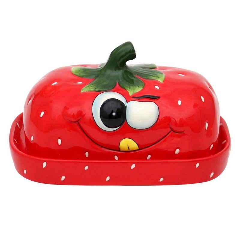 Dekohelden24 Butterglocke »Keramik Butterdose als Erdbeer in rot«,(1-tlg)