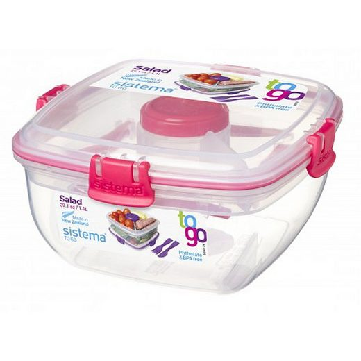 sistema Aufbewahrungsbox »Salatbox To Go, pink«, Kunststoff Lebensmittelsicher