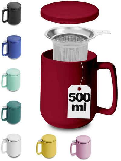 Cosumy Teeglas »Teetasse mit Sieb und Deckel Rot 500ml«, Keramik, Hält Lange warm - 500ml XXL Groß - Spülmaschinenfest