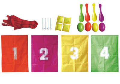 L.A. Sports Spielesammlung, Kinderspiele für draußen »Kinder Party und Garten-Spiele«, beliebte Partyspiele im Set, Eierlauf, Sackhüpfen und Wurfspiele