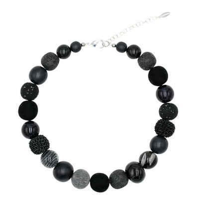 Stephisimo Perlenkette »Black Beauty« (inkl. Organza-Beutel), 45 cm lang, Made in Germany, mit Glas- und Keramikperlen