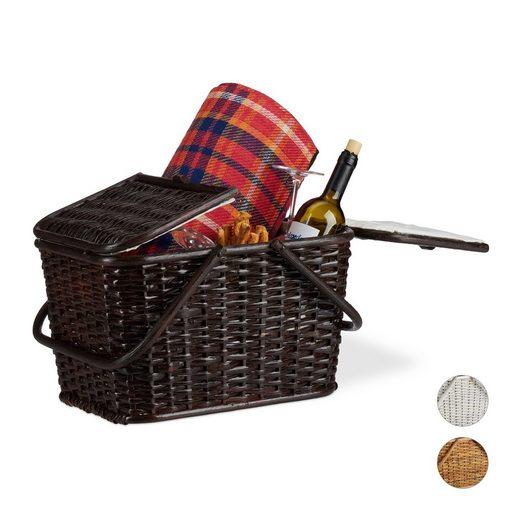 relaxdays Picknickkorb »Picknickkorb mit Deckel«