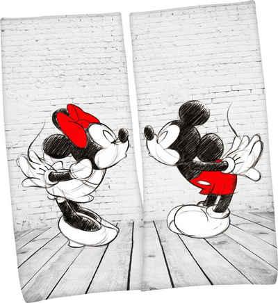 Walt Disney Badetuch »Mickey und Minnie Mouse« (2-St), mit romantischem Partner-Motiv
