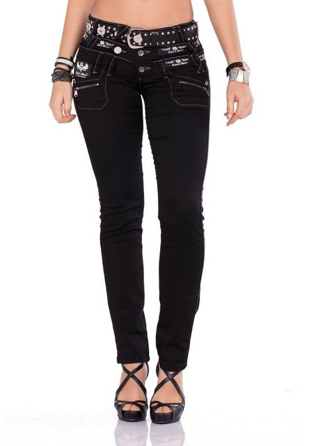 Hosen - Cipo Baxx Bequeme Jeans im Straight Fit Schnitt und coolem Gürtel › schwarz  - Onlineshop OTTO