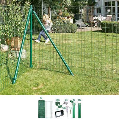 GAH Alberts Schweissgitter »Fix-Clip Pro®«, (Set), 122 cm hoch, 25 m, grün beschichtet, mit Bodenhülsen