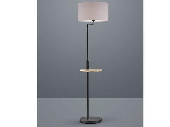 TRIO LED Stehlampe, mit Ablage-Tisch, USB Anschluss, Ladefunktion Schwarz und Stoff-Lampenschirm, coole skandinavische Wohnzimmer-Lampen