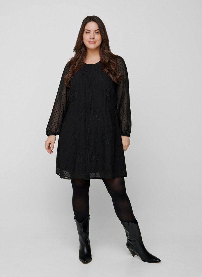 Zizzi A-Linien-Kleid Große Größen Damen Langarmkleid mit ...