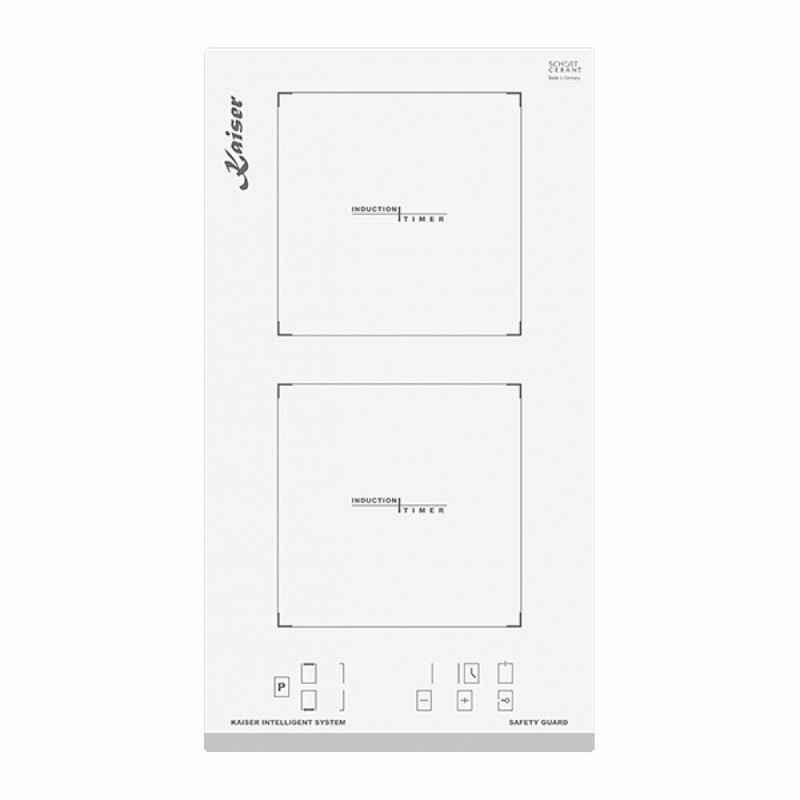 Kaiser Küchengeräte Induktions-Kochfeld Grand CHEF Domino, Weißes Glas, Facette vorne,30 cm, Induktionskochfeld, Funktionsdisplay