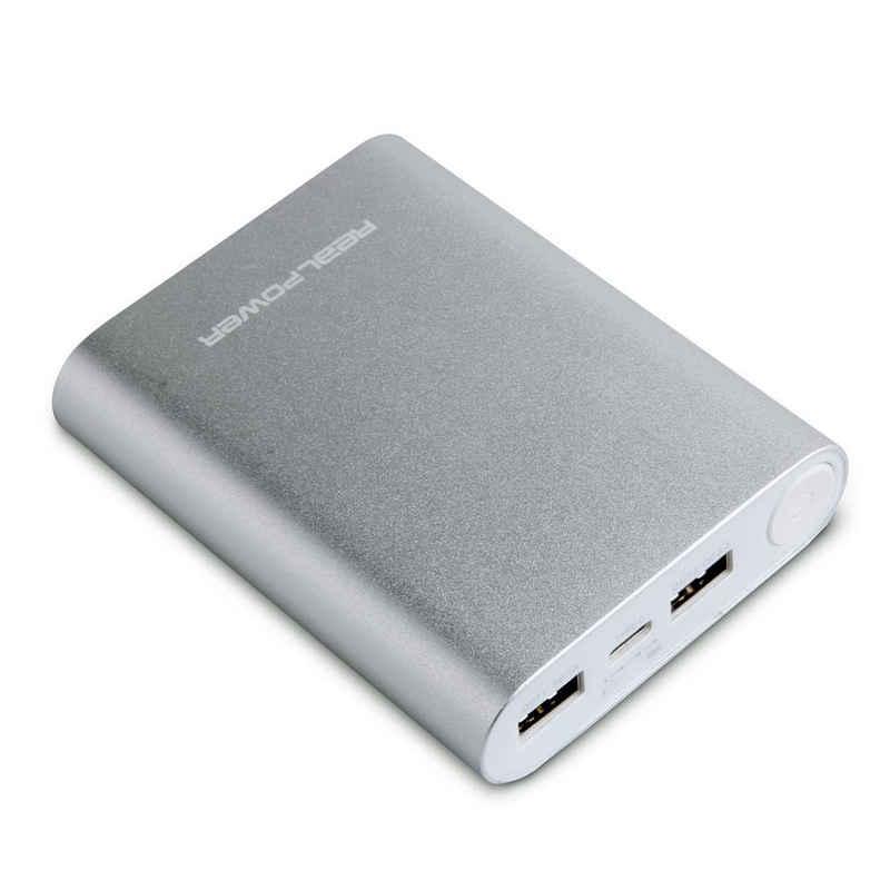 Realpower »PB-12000C« Powerbank 12000 mAh, 12000 mAh USB Akku, Mobiles Ladegerät, USB-C / TypC, Akku, Smartphone, Handy, Tablet, 3 Geräte gleichzeitig laden, LED Anzeige, silber