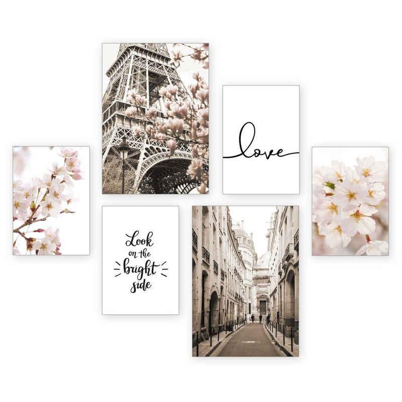 Kreative Feder Poster »Paris Love«, Paris (Set, 6 Stück), 6-teiliges Poster-Set, Kunstdruck, Wandbild, Posterwand, Bilderwand, optional mit Rahmen, WP541