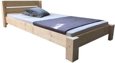 LIEGEWERK Bett »Designbett mit Kopfteil Massivholzbett hergestellt in BRD in 90 100 120 140 160 180 200 x 200cm Bett Holz«, 200 x 200cm