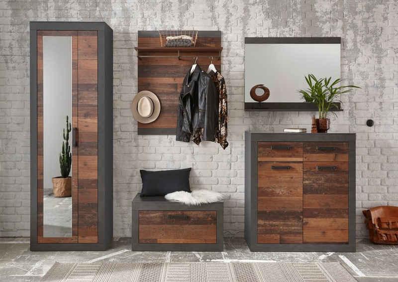 Home affaire Garderoben-Set »BROOKLYN«, (Komplett-Set, 5-St., bestehend aus Garderobenschrank mit Spiegel, Kommde, Spiegel, Garderobenbank und -paneel), in dekorativer Rahmenoptik