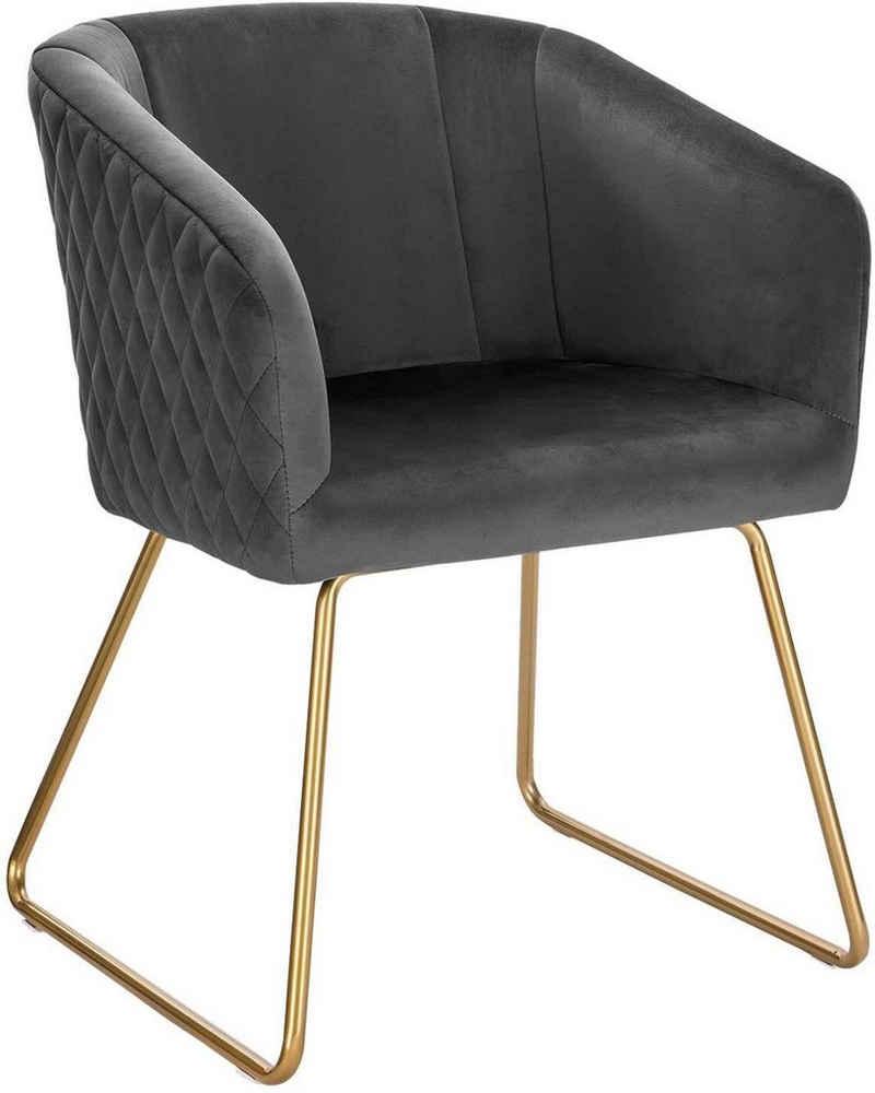 Woltu Polsterstuhl »BH271« (Set, 1 Stück), Küchenstuhl mit Armlehne, Sitzfläche aus Samt, Metall, Gold Beine, Dunkelgrau