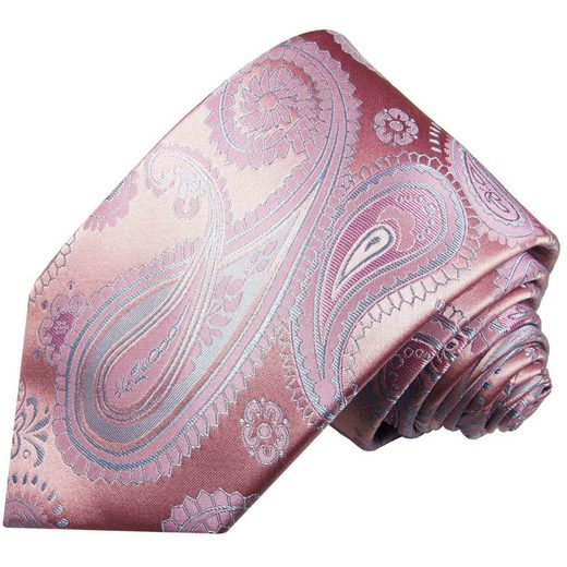 Paul Malone Krawatte »Elegante Seidenkrawatte Herren Schlips modern paisley brokat 100% Seide« Schmal (6cm), rosa pink blau 686