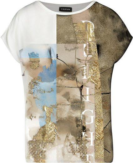 Taifun Blusenshirt vorne mit farbigem Print, im Rücken mit Goldprint