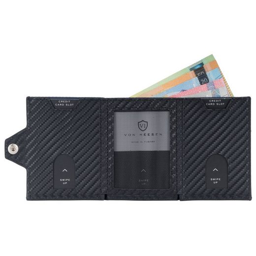 VON HEESEN Mini Geldbörse »Whizz Wallet mit 5 Kartenfächern und Münzfach (carbon-schwarz)«