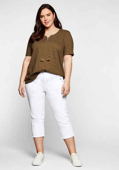 Sheego 3/4-Jeans mit Fransen am Saum