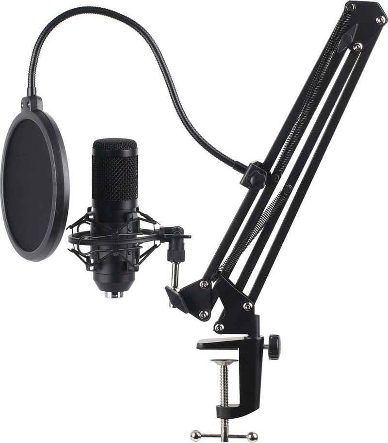 Hyrican Mikrofon »USB Streaming Mikrofon Set ST-SM50 mit Mikrofonarm, Spinne & Popschutz«