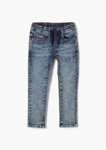 s.Oliver 5-Pocket-Jeans »Slim: Jeans mit Elastikbund« Waschung
