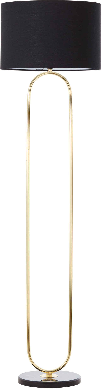 Guido Maria Kretschmer Home&Living Stehlampe »Zeria«, Stehleuchte mit Fuß aus Marmor, schwarzer Stoff-Schirm