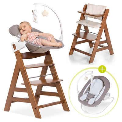 Hauck Hochstuhl »Alpha Plus Walnut - Newborn Set« (4 Stück), Holz Babystuhl ab Geburt mit Liegefunktion - inkl. Aufsatz für Neugeborene, Sitzpolster