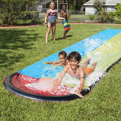 Masbekte Wasserrutsche, Aufblasbare Wasserrutsche, Wasserbahn, Sommerspielzeug für draußen, 480 x 140 cm