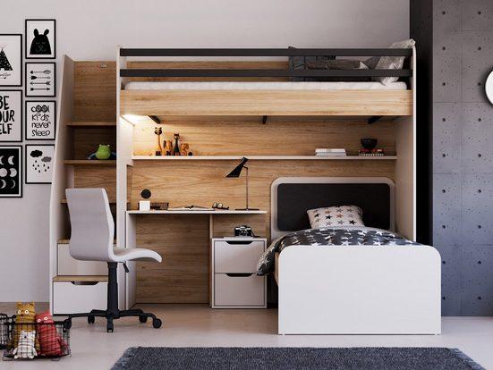 Möbel-Lux Kinderbett »New Options« (Set, 3-tlg), Almila Kinderbett Hochbett Kombi Jugendzimmer New Options